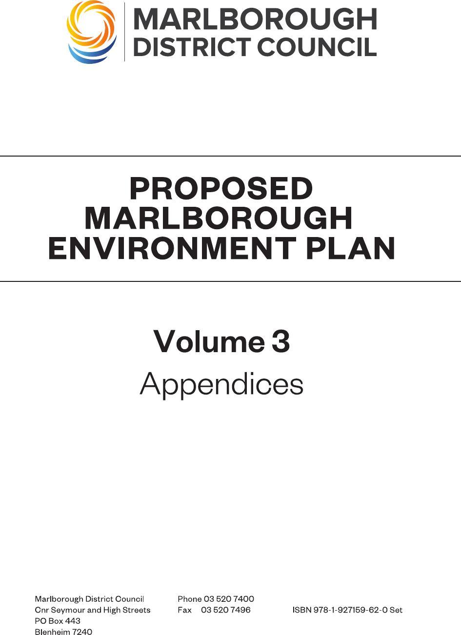 Proposed Marlborough Environment Plan Volume 3 - Appendices